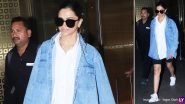 Deepika Padukone's Stylish Airport Look Consist of Black Biker Shorts Paired With a Denim Jacket (View Pics)