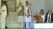 Donald Trump, PM Modi Garland Mahatma Gandhi's Portrait at Sabarmati Ashram, Spin 'Charkha'; See Pics and Videos