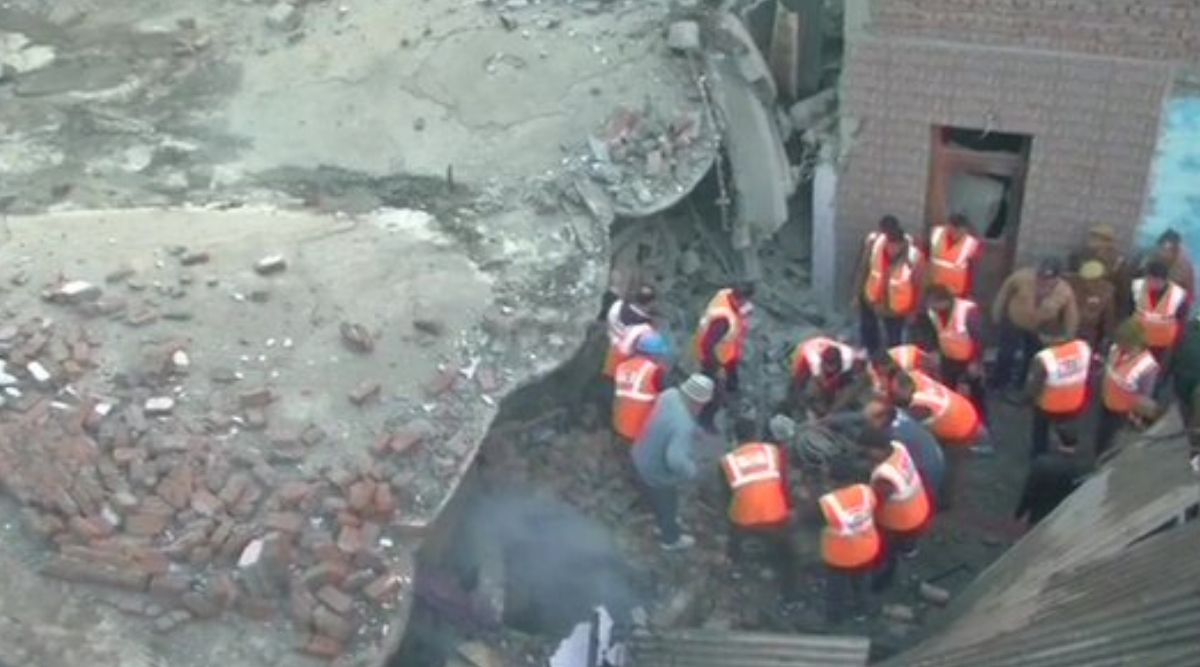 Jammu: Building in Talab Tillo Area Collapses After Fire Breaks Out, Rescue Operation Underway