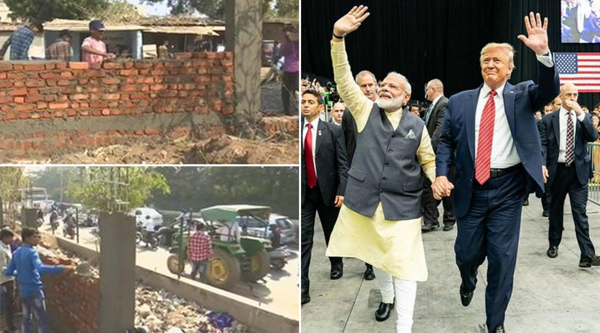 Donald Trump's India Visit: Ahmedabad Municipal Corporation Building Wall to Conceal Slum Along US President's Roadshow Route?