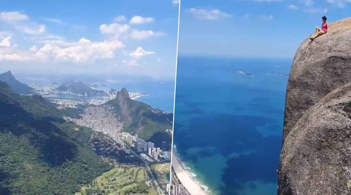 Woman's Daredevil Photo Attempt to Click Picture at Rio's Pedra da Gavea Will Give Chills to Thrill Seekers (Watch Viral Video)