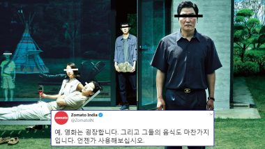 Zomato India Congratulates 'Parasite' for Winning Oscars 2020 and Compliments Their Food in Korean Language; Twitterati Left Scratching Their Heads