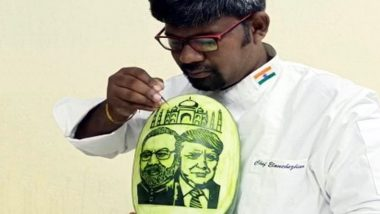 Narendra Modi, Donald Trump's Images Carved on Watermelon by Tamil Nadu Artist a Day Before US President's Awaited Visit