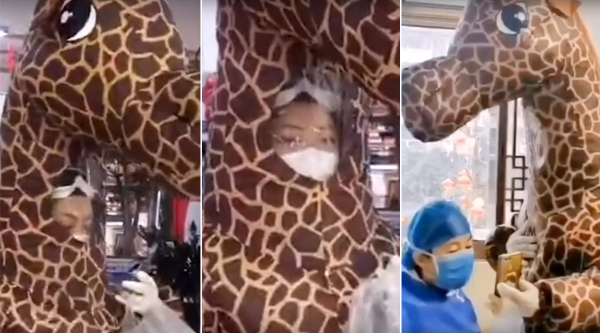 Coronavirus Outbreak Forces Chinese Woman to Wear Giraffe Costume While Visiting Hospital (Watch Video)