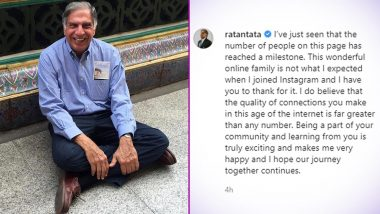 Ratan Tata Reaches 1 Million Followers on Instagram, Thanks Netizens With a Heartfelt Note (View Pic)