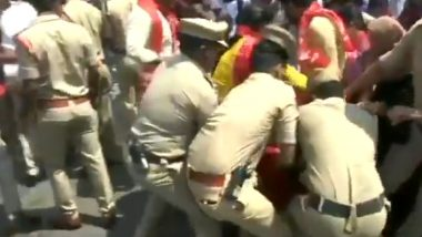Hyderabad: CPI Members Detained for Trying to Burn Amit Shah's Effigy Over Delhi Violence (Watch Video)
