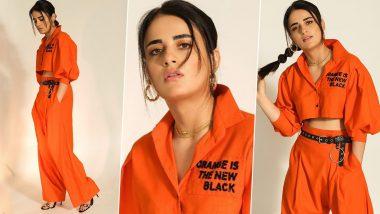 Orange Never Looked So Gorgeous Before! Radhika Madan Stuns in her Monochrome Separates for Angrezi Medium Promotions