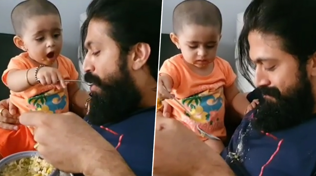 KGF Star Yash Surrenders to His Baby Girl Ayra Who Is Feeding Her Daddy While In Self-Quarantine (Watch Video)