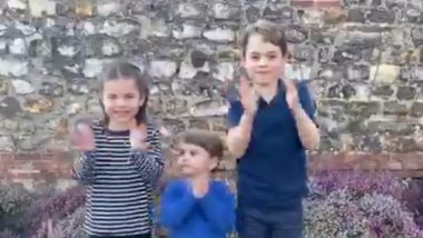 Prince George, Princess Charlotte, and Prince Louis Clap for the NHS Staff Fighting Coronavirus Pandemic! Heart-Melting Video of the Youngest Royals Goes Viral