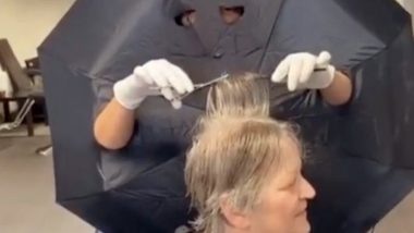 Hairdresser Comes up With a Brilliant Idea Using Umbrellas to Keep Her Business Running During the Coronavirus Pandemic