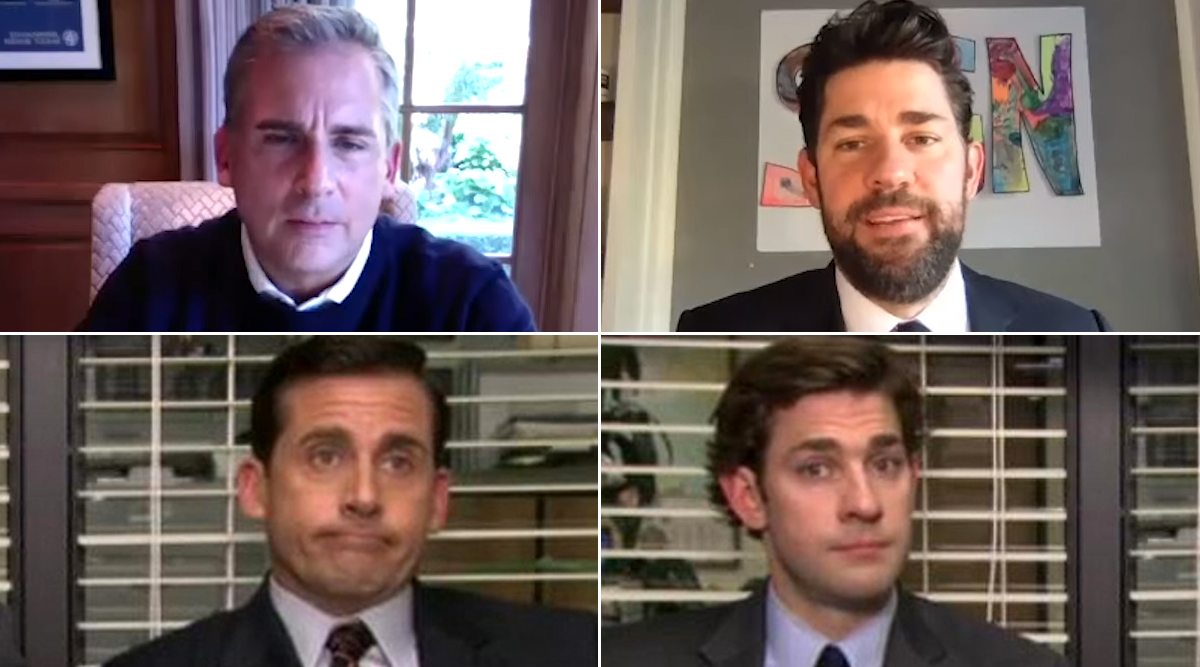 John Krasinski and Steve Carell Reflect OnThe Office's 15th Anniversary, Share Their Favourite Moments in a Surprise Reunion (Watch Video)