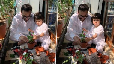 Janata Curfew: Kareena Kapoor Khan's 'Boys' Saif Ali Khan And Taimur Pot A Plant For A Better World (View Pics)