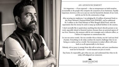 COVID-19 Outbreak: Designer Sabyasachi Mukherjee Donates Rs 15 Million to Prime Minister and West Bengal Chief Minister Relief Funds