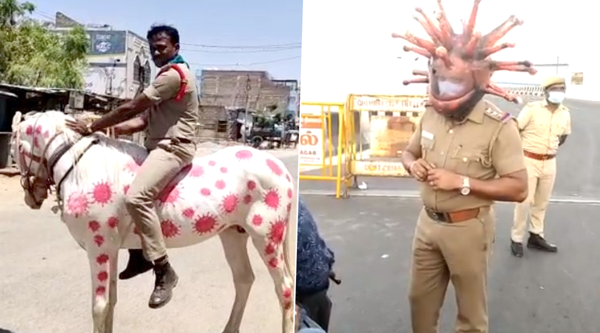 Coronavirus Lockdown in India: From Wearing COVID-19 Helmet to Riding Horse Painted With Images of Virus, Cops Get Creative to Raise Awareness About the Pandemic