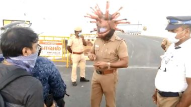Corona Helmet, Chennai Police's Unique Way to Dissuade Lockdown Defiers (Watch Video)