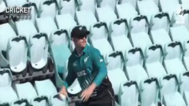 Lockie Ferguson Fetches Ball Back From Empty Stands During Australia vs New Zealand 1st ODI in Match Being Behind Closed Doors Due To Coronavirus Scare (Watch Video)