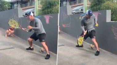 David Warner Plays Backyard Tennis As Australian Opener Sharpens His Catching Skills During Self-Quarantine (Watch Video)