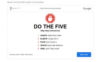 Coronavirus Prevention Tips: Google Spreads Awareness with 'DO THE FIVE' Advisory on Its Homepage to Stop the Spread of COVID-19