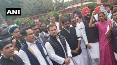 Rahul Gandhi Leads Protest Against Suspension of Seven Congress MPs from Lok Sabha
