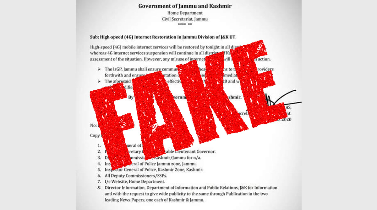 4G Internet to be Restored in Jammu From Midnight? J&K Govt Says Order Copy Going Viral is Fake; Here's a Fact Check