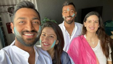 Holi 2020: Hardik Pandya, Fiance Natasa Stankovic Celebrate Festival of Colours with Krunal Pandya, His Wife Pankhuri Sharma and Family (See Pics)