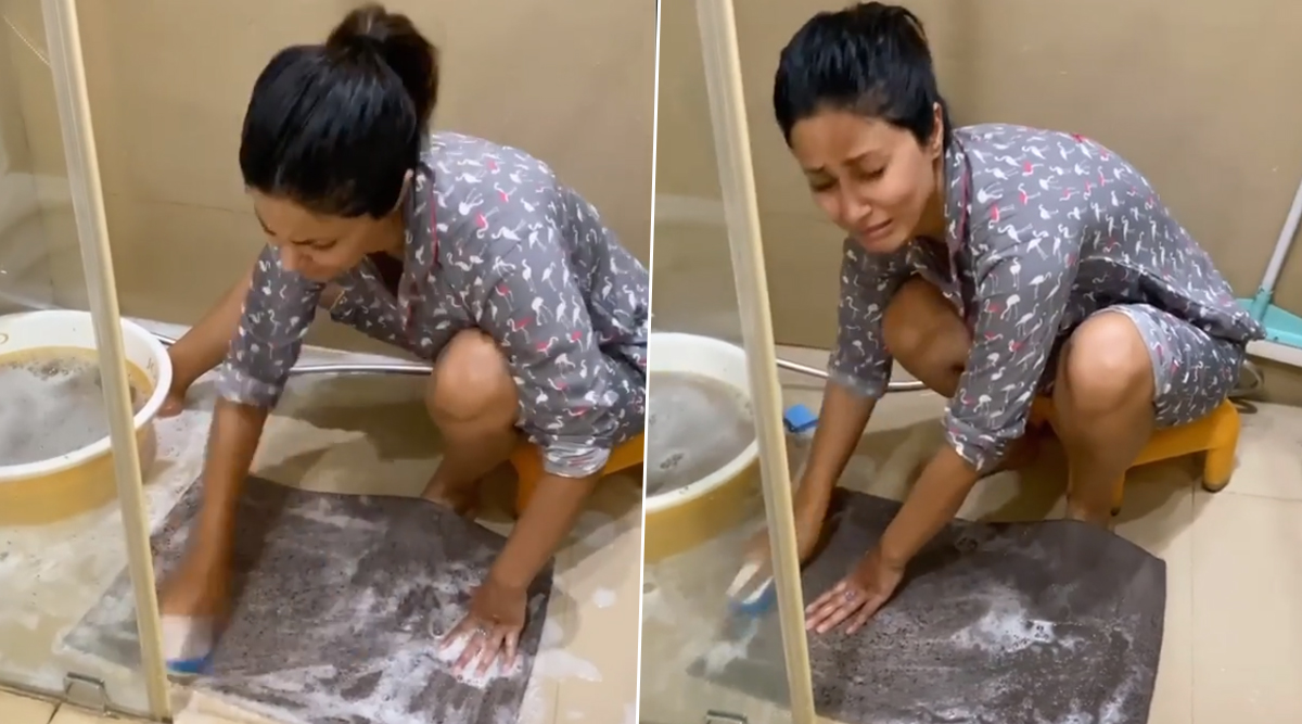 Hina Khan Gets Busy With Household Chores, Scrubs a Doormat Amid the Coronavirus Lockdown (Watch Video)