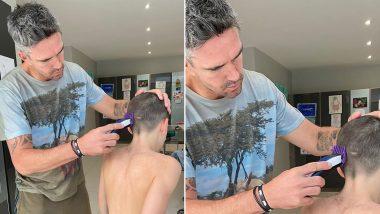 Kevin Pietersen Gives Himself & Son 'Tennis Ball' Haircut