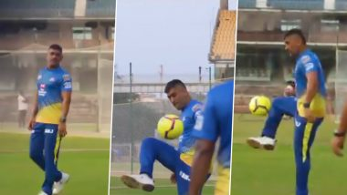 CSK Shares Video of Skipper MS Dhoni's Football Skills as Fans Await IPL 2020 To Start (Watch Video)