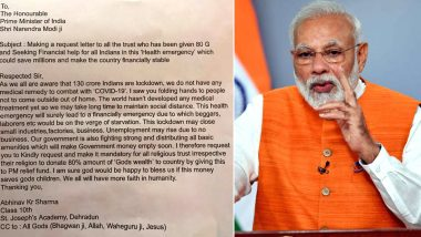 Class 10th Student in Letter to PM Modi: Order All Religious Trusts to Donate '80% of God's Wealth' in PM-CARES Fund to Fight Coronavirus