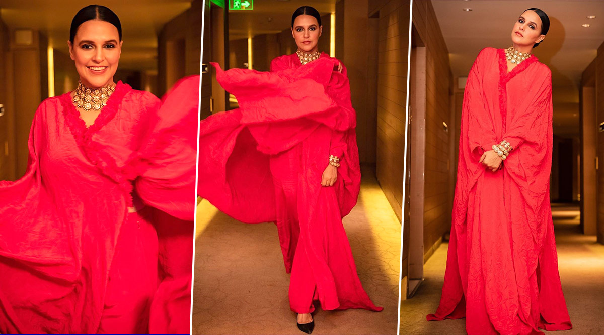 Neha Dhupia Is Feisty and Fiercely Feminine in a Flaming Red Masaba Gupta Creation!