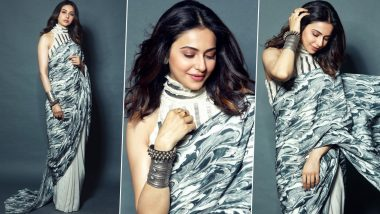 Rakul Preet Singh Goes Desi, Opts for a Printed White and Grey Six-Yard for an Event (View Pics)