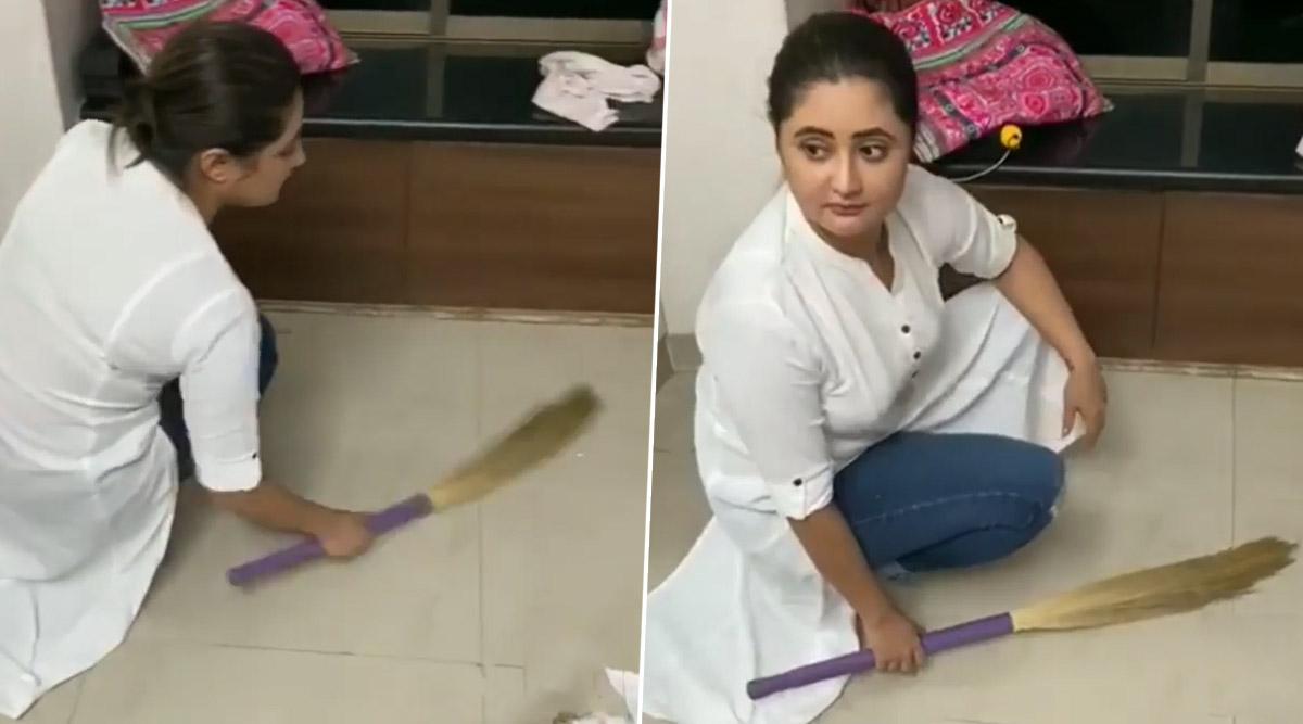 Bigg Boss 13's Rashami Desai Sweeps Her House Floor Amid The Coronavirus Lockdown (Watch Video)