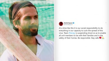 Shahid Kapoor's Jersey Shoot Stalled In Wake Of The Coronavirus Outbreak in India (Read Tweet)
