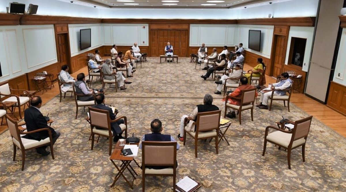 Social Distancing Seen at Union Cabinet Meeting Chaired by PM Narendra Modi Today Amid Coronavirus Lockdown in India, View Pic