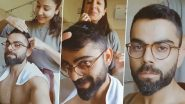 Virat Kohli New Hairstyle: Anushka Sharma Gives Indian Cricket Team Captain Haircut at Home Amid Quarantine Lockdown (Watch Video)