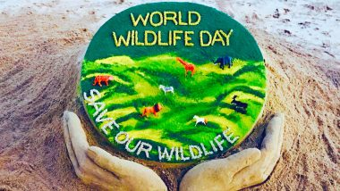 World Wildlife Day 2020: Sudarsan Pattnaik Creates Sand Art Highlighting Importance of 'Sustaining All Life on Earth'