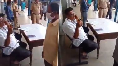 Karnataka Health Assistant Seen in Video Callously Screening Passengers at Tumkur Railway Station, Gets Suspended