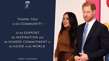 Meghan Markle and Prince Harry Officially Step Down as the Duke and Duchess Of Sussex With This Farewell Note (View Pic)