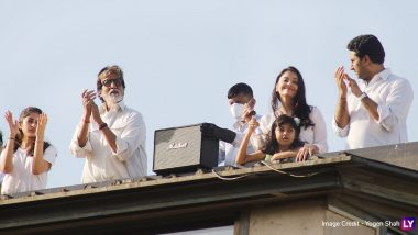 Amitabh, Abhishek, Aishwarya and Aaradhya Bachchan Honour the Medical Professionals by Clapping From Their Terrace on Janata Curfew Day (View Pics)