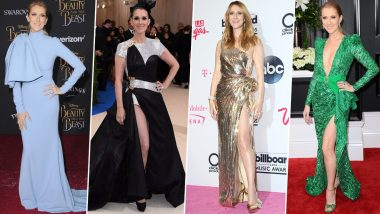 Celine Dion Birthday Special: From Solid Colours to Affinity for Metallic Gowns and Love for Prints, the 'Unison' Singer Prefers Having a Variety in her Wardrobe (View Pics)