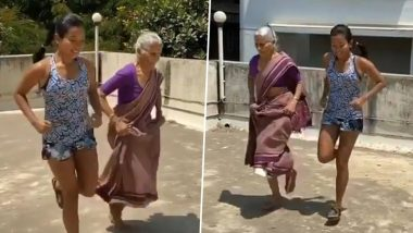 Milind Soman's 81-Year Old Mother Almost Beats His Wife Ankita Konwar in 'Langadi' Race and We Can't Stop Praising Her Fitness Level (Watch Video)