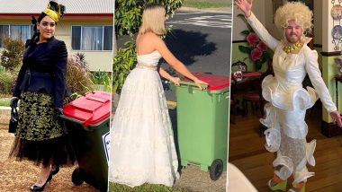 Bin Isolation Outings: Men & Women Are Wearing Ball Gowns and Fancy Dress to Take Their Trash Bins