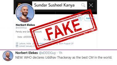 'Norbert Elekes' Spreads Fake News That WHO Declares Uddhav Thackeray as the Best CM