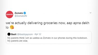 Man Calls Zomato 'Useless' During Lockdown, But Food Delivery Giant's Savage Reply Informing About Delivering Groceries is What You Need to See on Twitter RN!