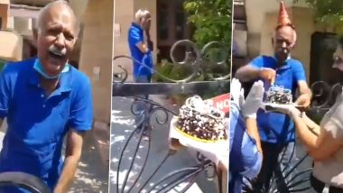 Senior Citizen Bursts into Tears of Joy as Panchkula Police Surprises Him with a Birthday Cake amid Lockdown! Heart-Melting Video Goes Viral