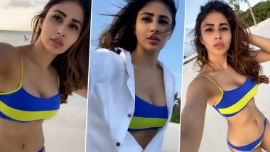 Mouni Roy Looks Sultry and Sexy in her Colour Block Bikini Set - View Pics