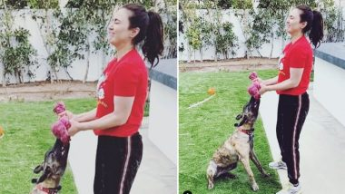 Preity Zinta's Puppy Bruno Becomes Her Dumble, Actress Discovers This Innovative Workout Style