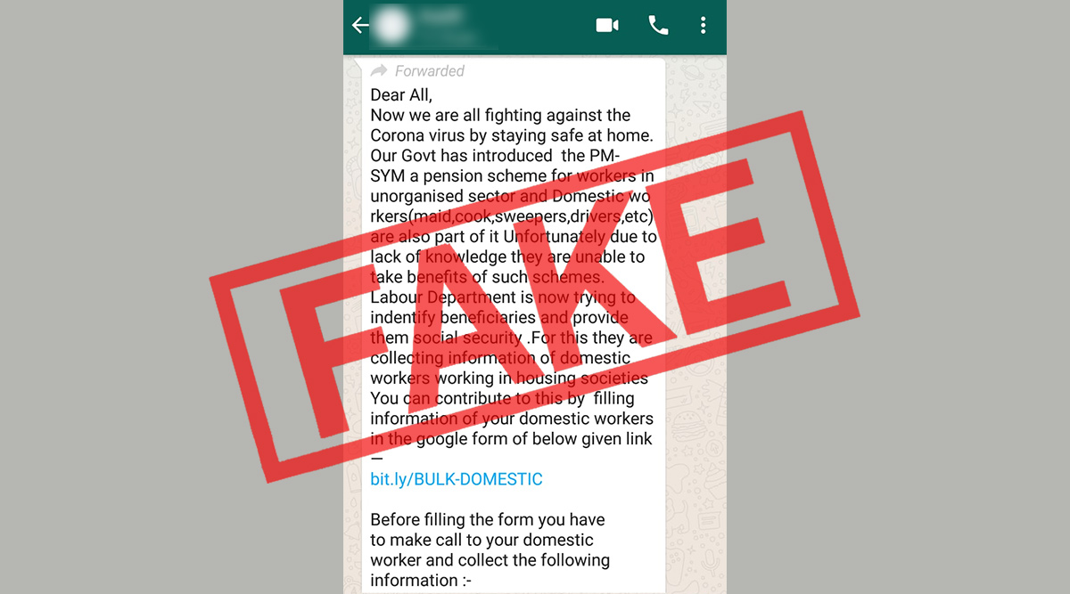 Viral WhatsApp Message Asking People to Get Their Domestic Workers Enrolled For PM-SYM Pension Scheme by Filling Google Form Amid Coronavirus Lockdown is Fake