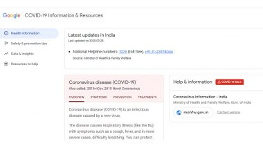 Google India Starts 'COVID 19 Information and Resources' Website to Give Updates on Coronavirus