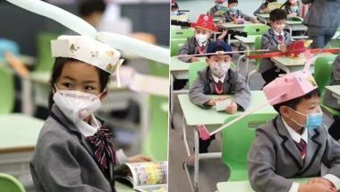 Social Distancing Hats Are a Hit! Chinese Students Wear Colourful DIY 1-Metre Hats to School; See Cute Pics